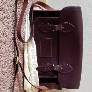 Leather bookbag/satchel in Port color